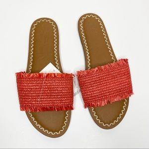 Universal Thread Orange Raffia Sandal Slides NWT